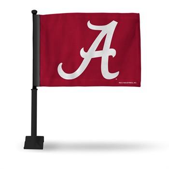 Alabama Crimson Tide Car Flag with Black Pole
