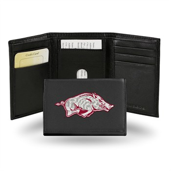 Arkansas Razorbacks College Embroidered Leather Tri-Fold Wallet