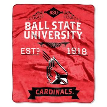 Ball State Cardinals Label Raschel Throw Blanket