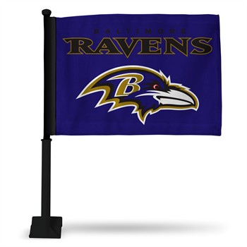 Baltimore Ravens Car Flag with Black Pole