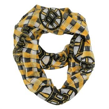 Boston Bruins Plaid Sheer Infinity Scarf