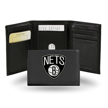 Brooklyn Nets Embroidered Leather Tri-Fold Wallet
