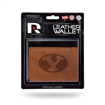 BYU Cougars Brown Leather Trifold Wallet