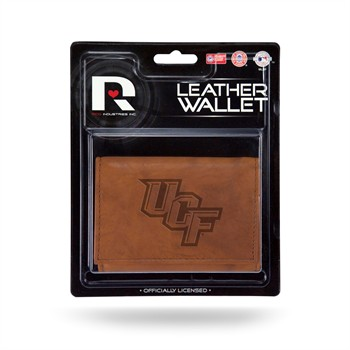 Central Florida Knights Brown Leather Trifold Wallet
