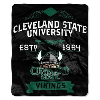 Cleveland State Vikings Label Raschel Throw Blanket