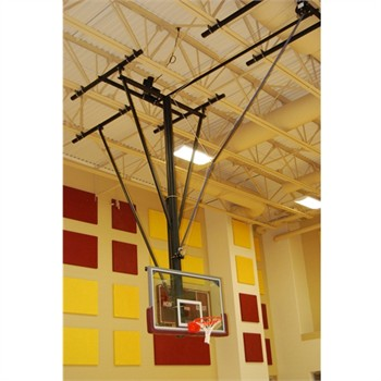 Gared Forward Fold / Rear Braced Ceiling Suspended Basketball Backstop