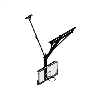 Gared Rear Fold / Rear Braced Bent Post Ceiling Suspended Basketball Backstop