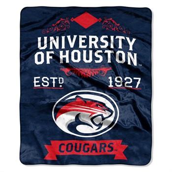 Houston Cougars Label Raschel Throw Blanket