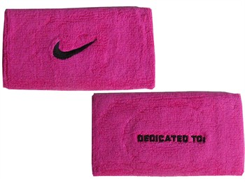Nike Swoosh Doublewide Wristbands - Pink / Black