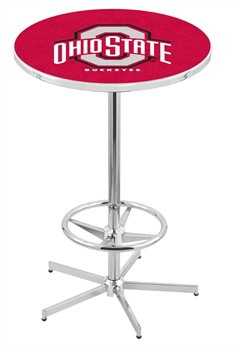 Ohio State Buckeyes Chrome Bar Table with Foot Ring