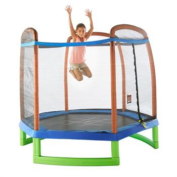 Pure Fun 7ft Kids Trampoline with Enclosure + Tic-tac-toe