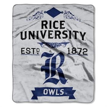 Rice Owls Label Raschel Throw Blanket