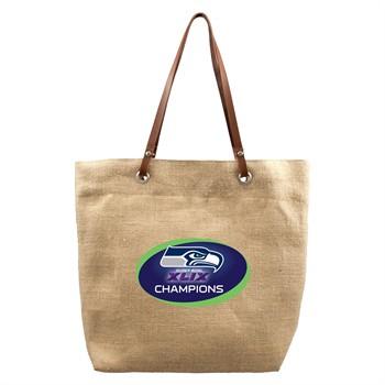Seattle Seahawks Super Bowl Burlap Market Tote