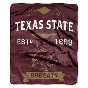 Texas State Bobcats Label Raschel Throw Blanket