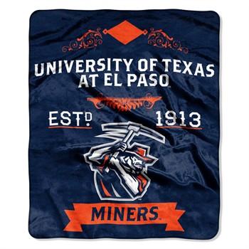 UTEP Miners Label Raschel Throw Blanket