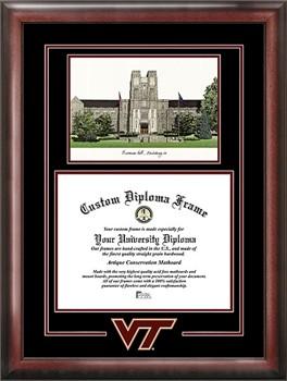 Virginia Tech Hokies Spirit Diploma Frame with Campus Image